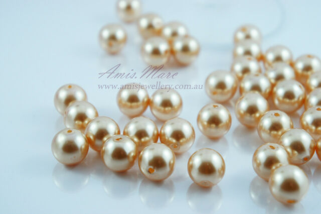 14mm Cream/Champagne Wedding&Decoration Imitation Acrylic Round Pearl Beads