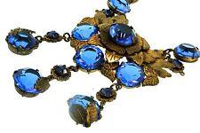Vtg Deco CZECH Brass Leaves Flower Bezel Set Sapphire Glass Dangling NECKLACE