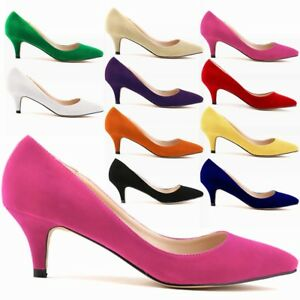 Ladies-Low-Mid-Court-Shoes-Ladies-Formal-Kitten-Heels-Office-Ballet-Pumps-Size