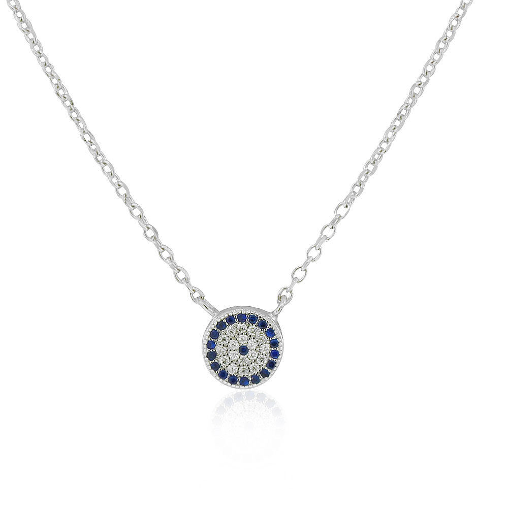 Infinity//Love//Evil Eye//White-Blue CZ Pendant//Chain//Necklace 925k STERLING SILVER