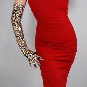 """Intelligent Latex Long Gants Shine Cuir Polyuréthane 24"""" 60 Cm Imprimé Animal Marron Cheetah Leopard-afficher Le Titre D'origine Emballage De Marque NomméE"""