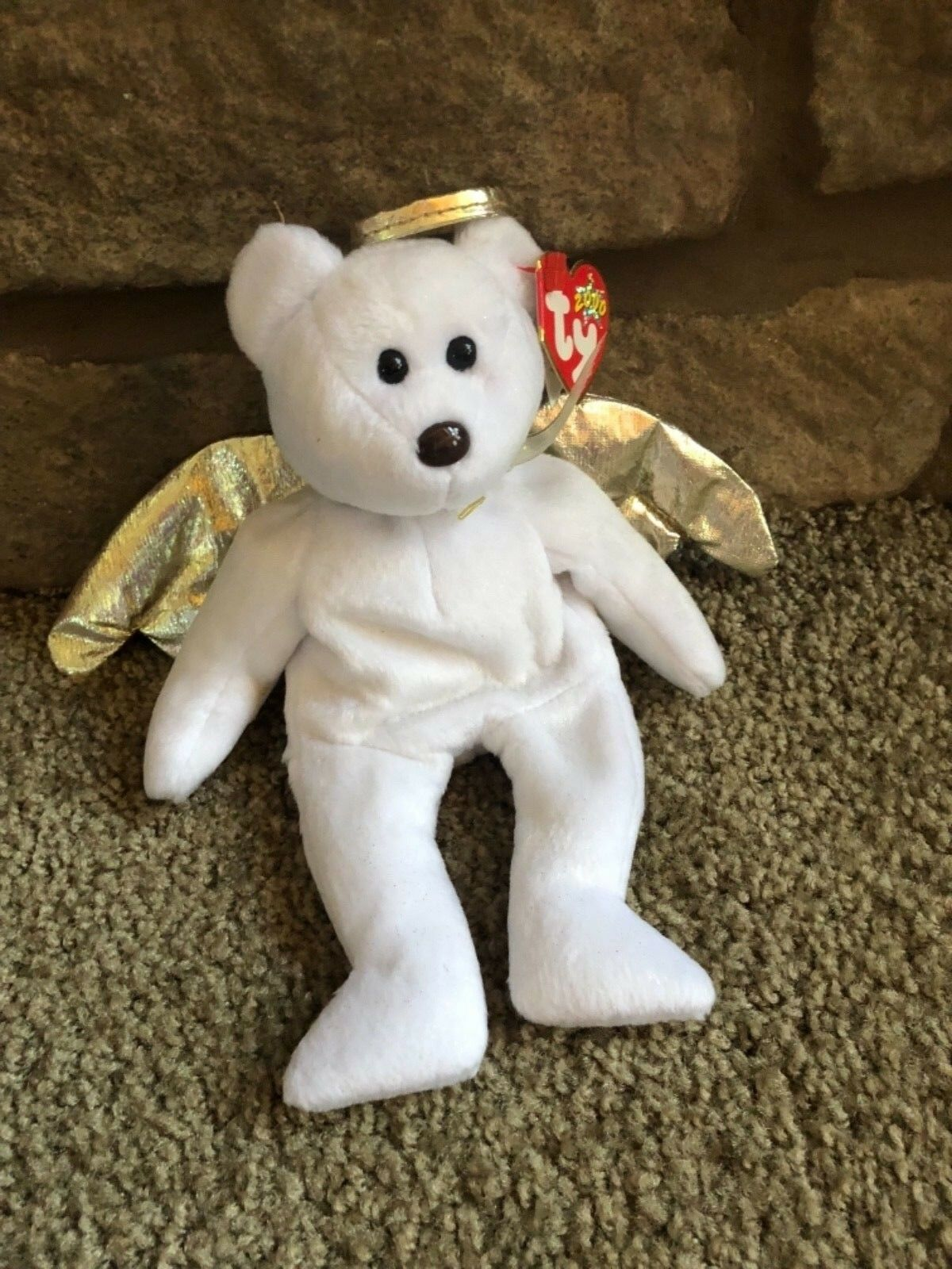Ty beanie baby bear Halo II rare with brown nose