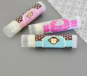 Details about 72 Personalized Baby Animal Theme Flavored Lip Balm Tubes  Baby Shower Favors