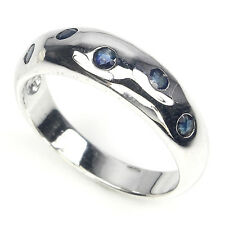 GENUINE ROUND CUT TOP RICH BLUE SAPPHIRE STERLING 925 SILVER MAN's BAND RING 9.5