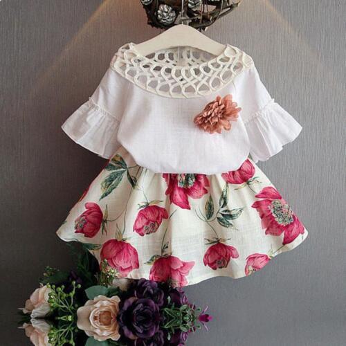 New Kids Baby Girls Short Sleeve Shirt Flowers Skirt Set Summer Dress Outfits
