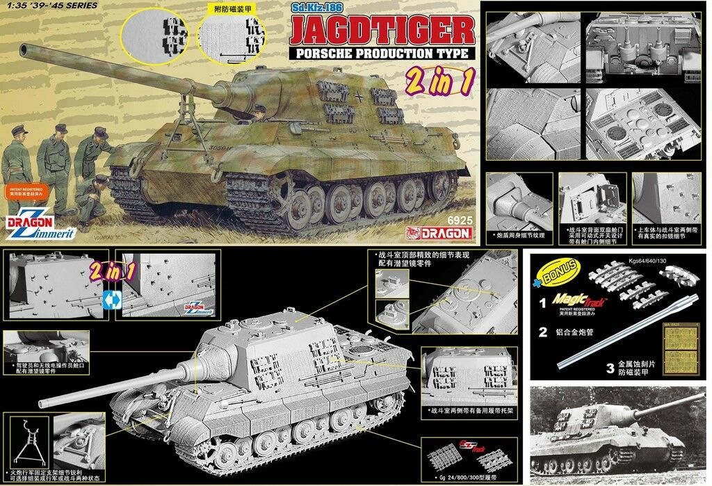 DRAGON 1 35 6925 German JAGDTIGER PORSCHE PRODUCTION TYPE 2 in 1 Model Kit w Tra