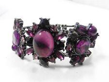 White House Black Market Gun Metal Purple Crystals Cabochon Bracelet