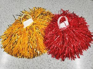 USC-Cheer-Cheerleader-Pom-Poms-Gold-amp-Red-Set-NEW