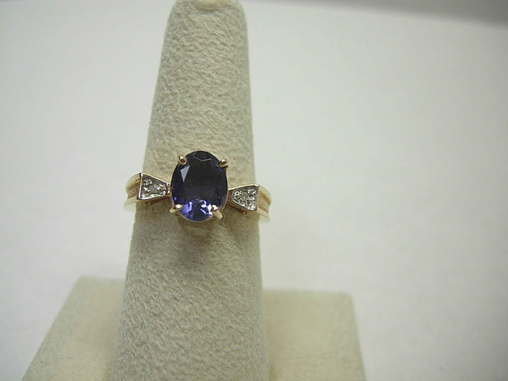 14KT Yellow gold Iolite Ring w Diamond Accents 1.5 CTs SIZABLE 7