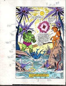 1985-Original-Marvel-Comics-Hulk-309-color-guide-art-page-22-Buscema-Avengers