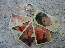 Genuine Vintage 1980's Michael Jackson Keychain Thriller Cards