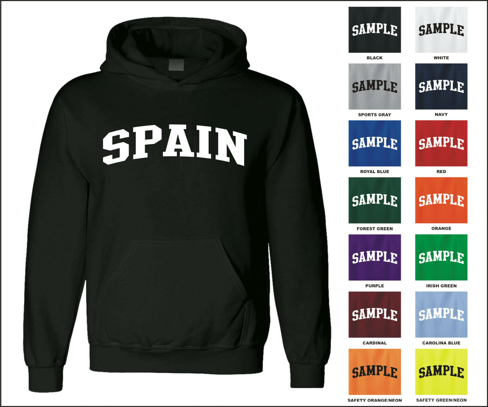 Country of Spain College Letter Adult Jersey Hooded Sweatshirt