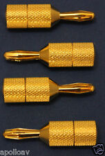 Gold Plated (3u thickness) Spade to Banana Adapters - pack of 4 - New
