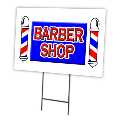 "BARBER SHOP 12/""x16/"" Yard Sign /& Stake outdoor plastic coroplast window"