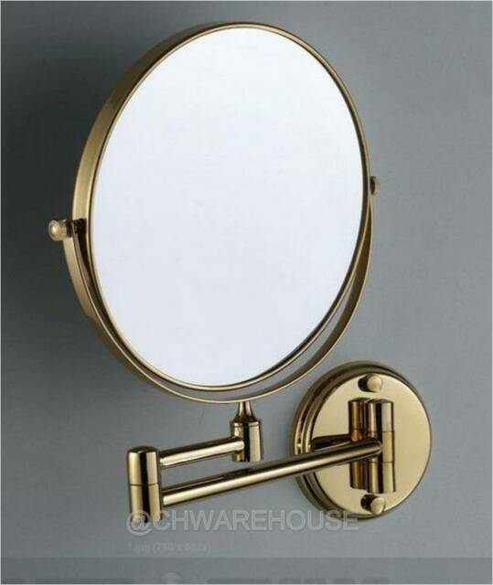 Gold 8 Magnifying Mirror For Bath Makeup Wall Mounted Swing Arm 7x 2 Sided