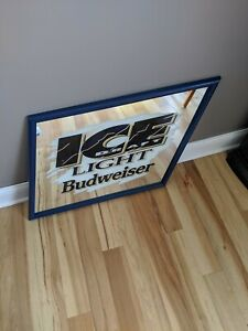 NOS-Vintage-Bud-Ice-Draft-Beer-Mirror-Sign-Anheuser-Busch-Budweiser