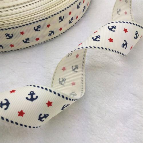 New 5 yards1inch 25mm print Anchors pattern Ribbon Bow Wedding craft supplies#65