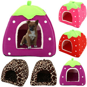 Pet-Small-Dog-Cat-Bed-House-Portable-Puppy-Kennel-Cave-Nest-Pad-Cushion-Washable