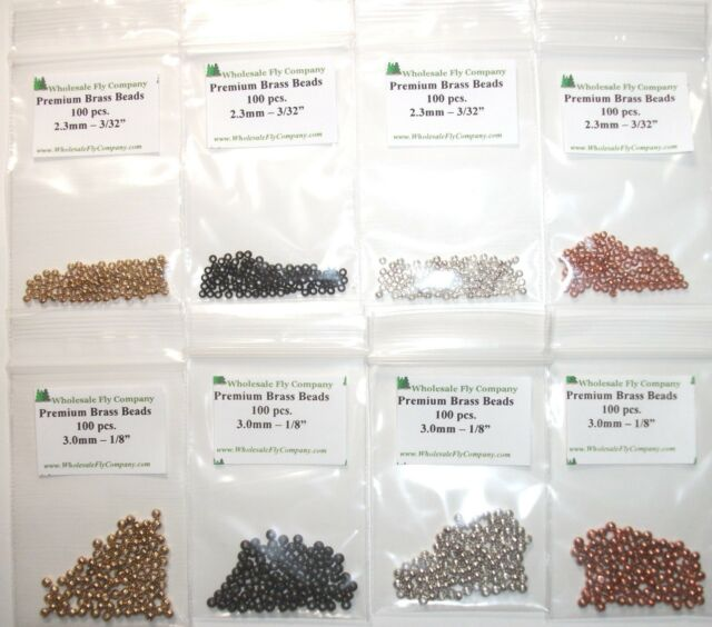 800 piece Brass Fly Tying Beads - Gold Black Silver Copper - Assortment MC