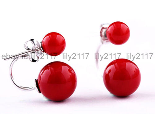 Rouge 10 mm South Sea Red Shell Pearl 925 Argent Boucles D/'oreilles Clou