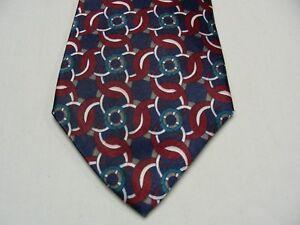 Bleu-Gris-Blanc-Canard-amp-Marron-Geometrique-Large-4-034-Polyester-Cravate