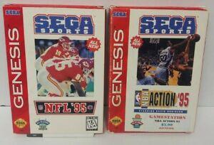 Sega Sports NFL Football + NBA Action 95 Sega Genesis Working 2 Game Lot