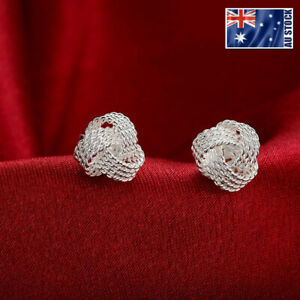 New-925-Sterling-Silver-Filled-10MM-Knot-Stud-Earrings-Vintage-OZ-Free-Shipping
