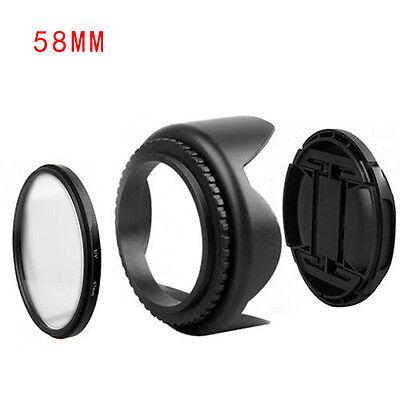 58mm Parasol &uv Filtro &lens Tapa Kit para Canon EOS 400d 500d 550d 600d 1100d