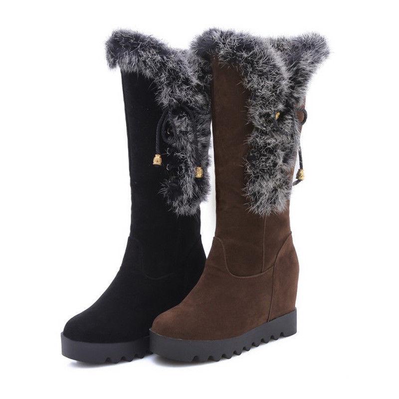 Winter Ladies Snow Boots Hidden Wedge Heels Pull On Fur Lining Mid Calf Boots Sz