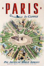 Service Paris Londres vintage air travel poster repro 16x24