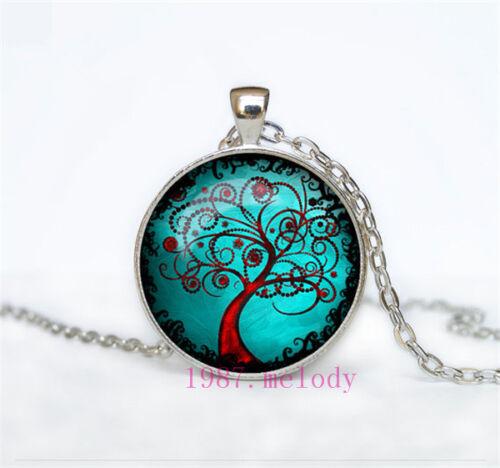 Vintage Cabochon Glass Necklace Silver Black bronze pendants(Tree of life)#372