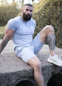 Gym-King-Mens-New-Short-Sleeve-Crew-Neck-Origin-T-Shirt-Grey-Marl