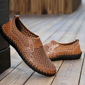 Summer-Breathable-Mens-Driving-Slip-on-Loafers-Leather-Shoes-Mesh-Casual-Shoes