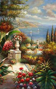 Dream-art-Oil-painting-Nice-Mediterranean-sea-landscape-in-summer-amp-flowers-art