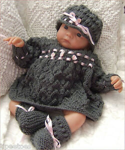 Knitting-Pattern-DK-21-TO-KNIT-Baby-Girls-or-Reborn-Dolls-Dress-Hat-Booties