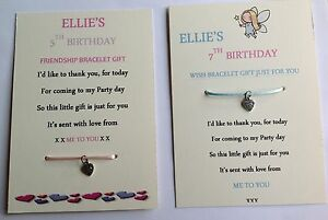 Image Is Loading PERSONALISED BIRTHDAY GIFT GIRL FAVOURS WISH FRIENDSHIP BRACELET