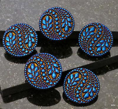 2 Big Bold Beautiful Czech Glass Buttons Vines,Flowers Deep Vibrant Cobalt Blue