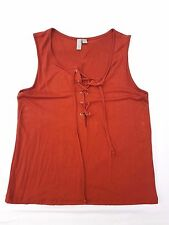 AS NEW ASOS Size 12 Top Singlet Tank Red Brown Lace Up Chic Gigi Kendall Glam