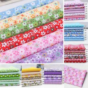 25cm Cotton Fabric DIY Floral Dots Assorted Squares Pre-Cut Bedding Kit Quarters Bundle for Quilting Sewing Patchwork 25 * 25 Cotton Craft Fabric 7pcs 25