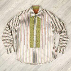 Robert-Graham-Button-Up-Casual-Dress-Shirt-Mens-Sz-L-Large-Multi-Color-Stripes