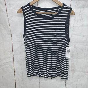 Three Dots Womens Striped Strappy Tank White Select Size NWT $75