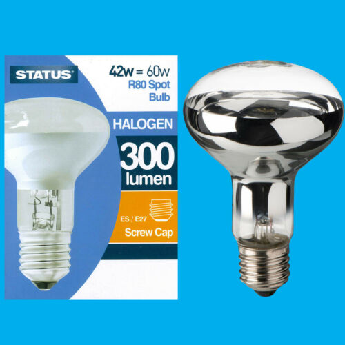 =60W Halogen R80 Dimmable Clear Reflector Spot Light Lamp ES E27 Bulb 8x 42W