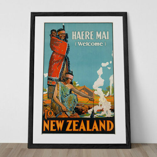 New Zealand Travel Poster Vintage Art Deco Poster New Zealand Print New Zealand