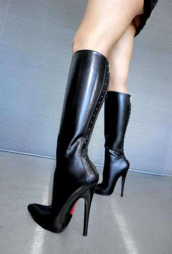 Couture 41 Cq Boots Stiefel Knee Leather Nero Stivali Zip Extreme Heels Black gTHwd