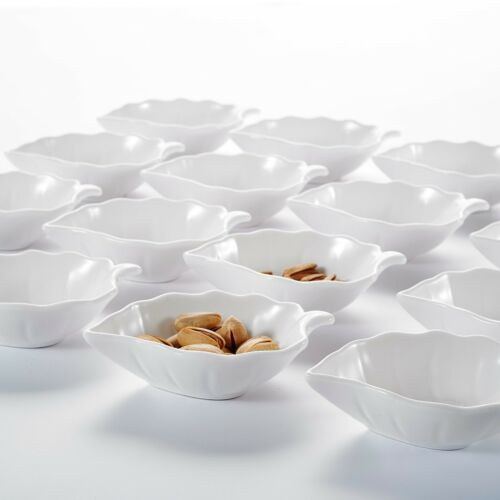 "MALACASA 16PCS 4.5/"" Ceramic Serving Ramekin Dishes Porcelain Leaf Dip Bowl Set"