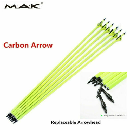 """6pcs 30/"""" Archery Carbon Arrows Plastic Vanes Spine 500 ForCompound Bow Hunting"""