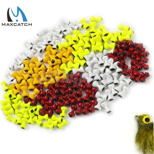 Maxcatch Painted Lead Eyes Fly Tying Beads Yellow//Orange//Red//White Dumbbell Bead