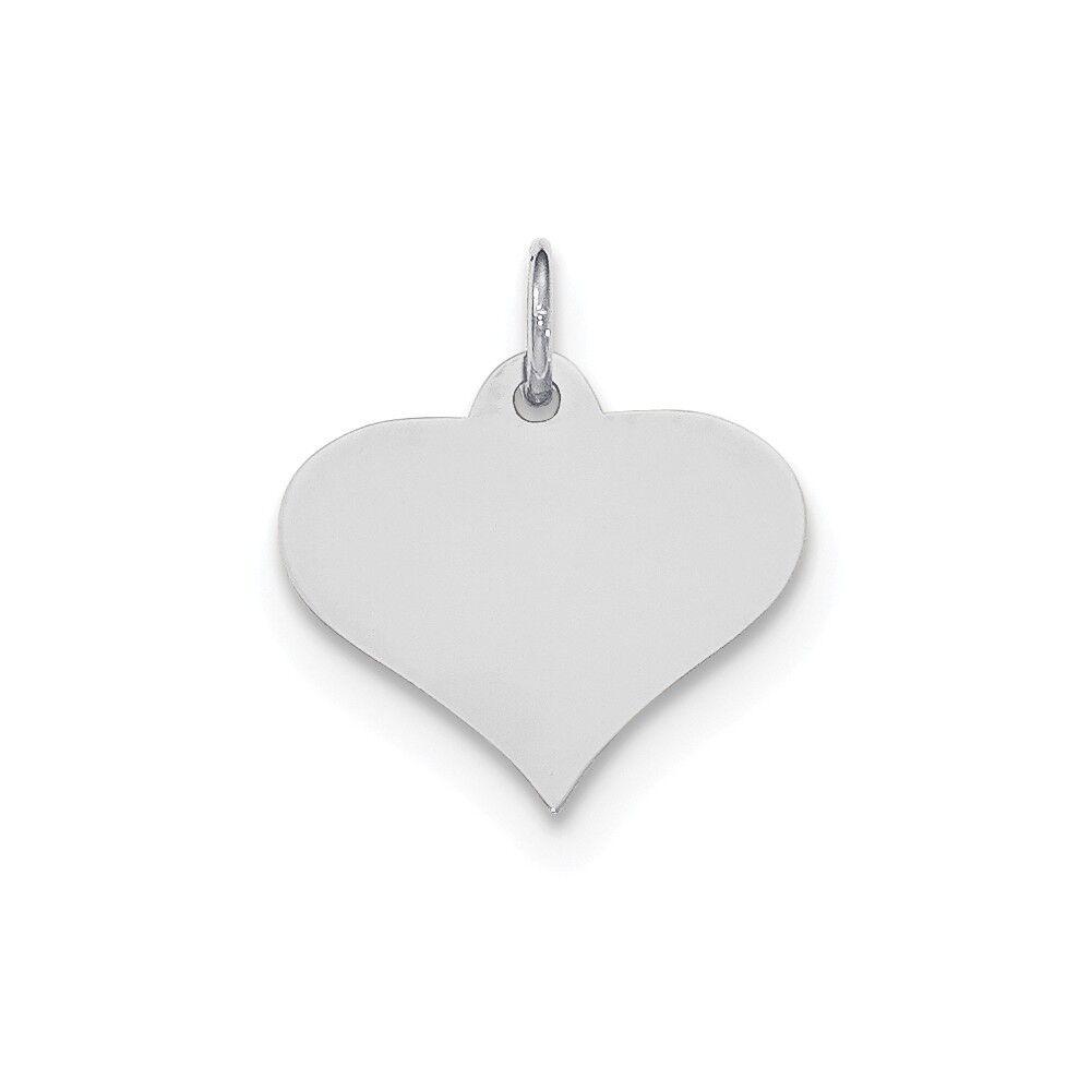 14K White gold .011 Gauge Engravable Heart Disc Charm Pendant MSRP  156