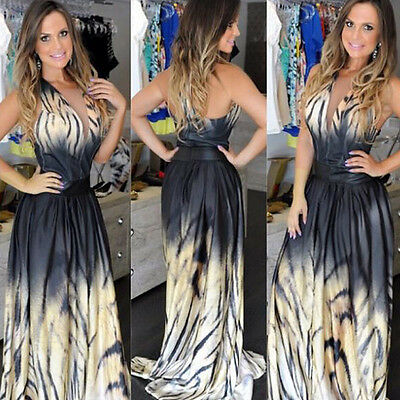 Sexy Women Party Long Leopard Print Maxi Chiffon Floor-Length Dress Hot Selling