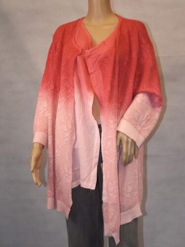50 Pink Ulla ~ Farbverlauf optik Popken 2in1 50 Cardigan 52 Strickjacke 54qALcR3j